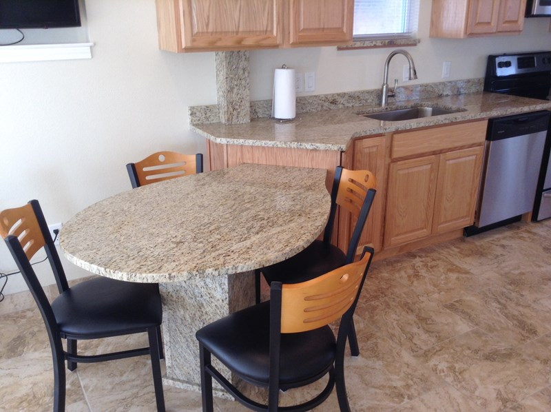 Granite tops in kitchen
