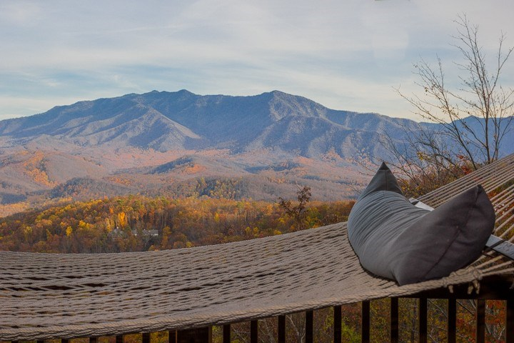 Rest in the hammock with a view of Mt LeConte