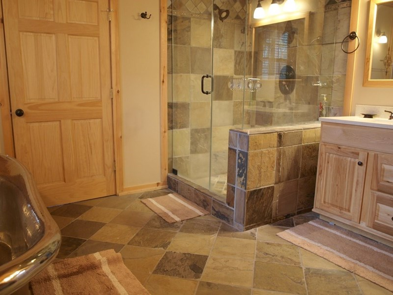 Master Bath Dual Shower Headsdual Rain Sprayslate Hickory Travertine Vanity.