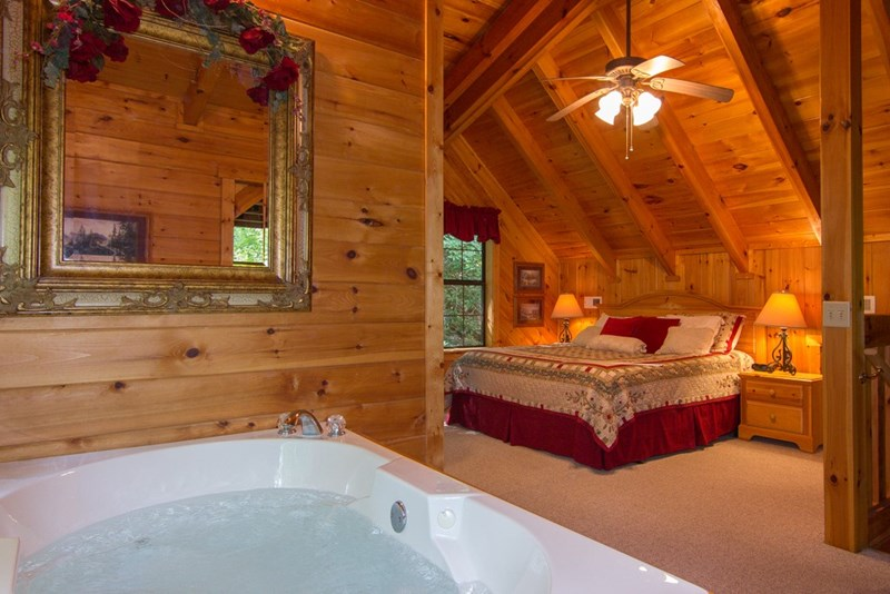 View of Loft Area from Jacuzzi Tub toward King bed