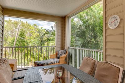 Screened Lanai with view of Lush Backyard and Pool - Table Seats 6
