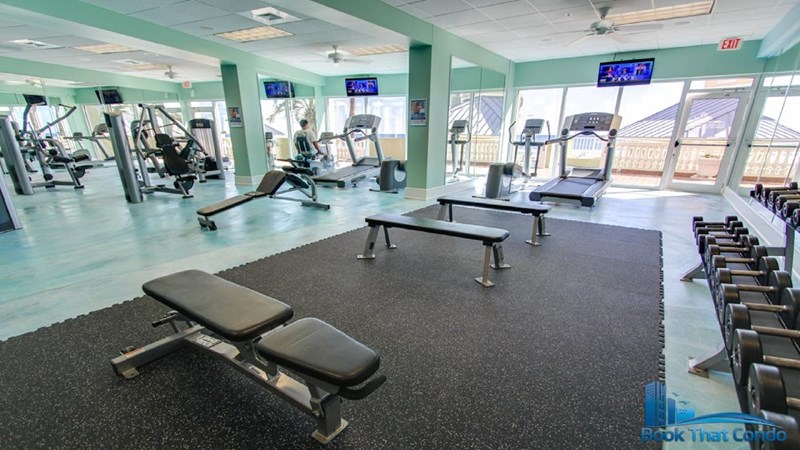 Fully equipped fitness center with cardio and resistance training equipment