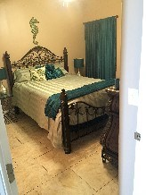 The sea horse room has a comfortable queen bed.