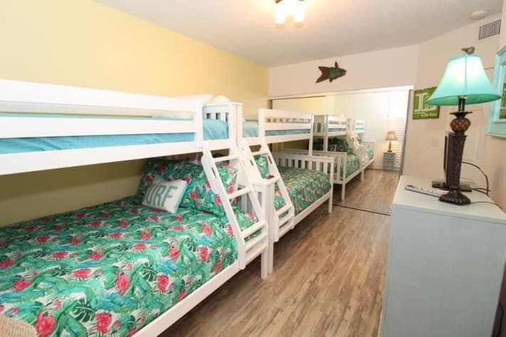 NEW large guest bedroom with two bunks - double beds on bottom and twins on top! So much fun for kids! TV/Playstation too!