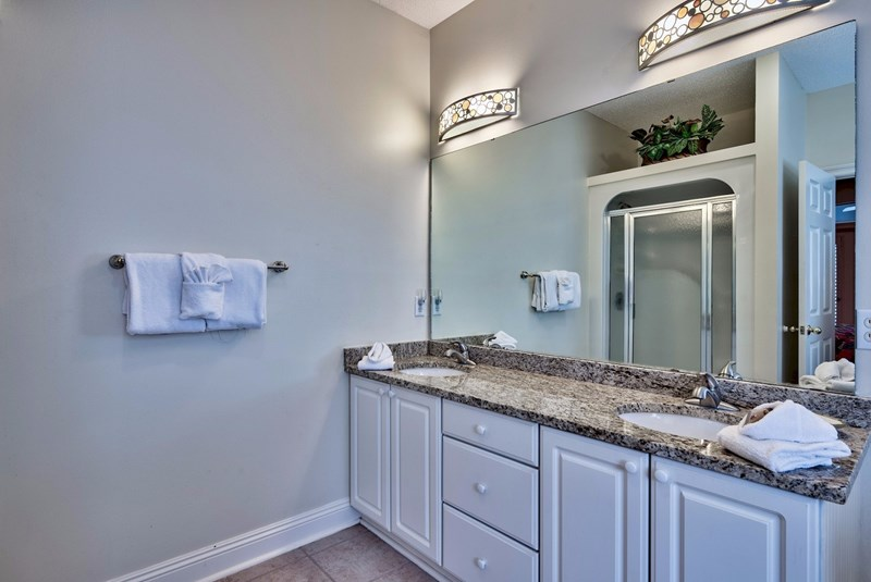Master bathroom with granite