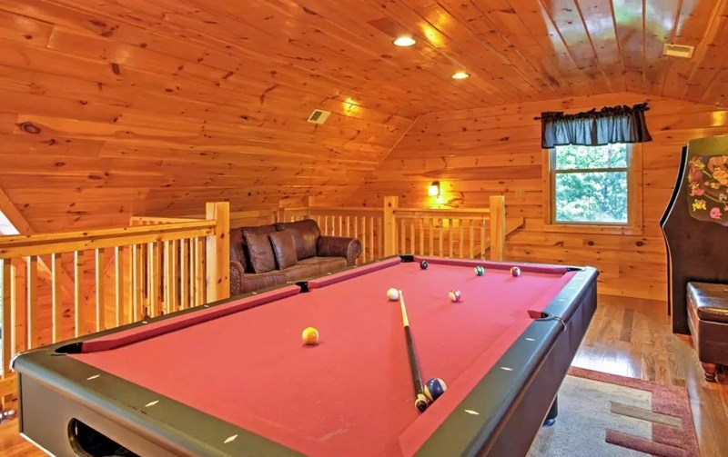 Pool table in loft game room