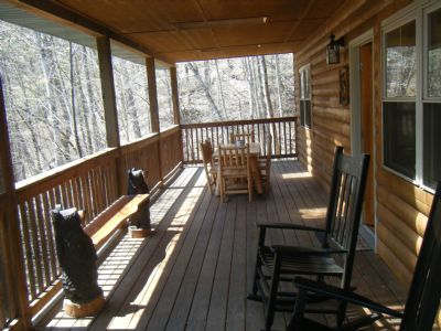 decks with winter view and creek