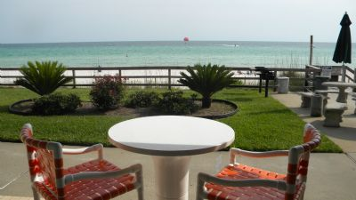 walk out door sit on private patio and or walk out to beach