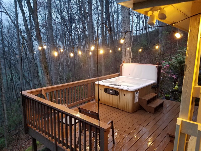 Night time on the Hot Tub Deck