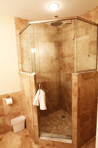 walk in glass/tile shower with rain head