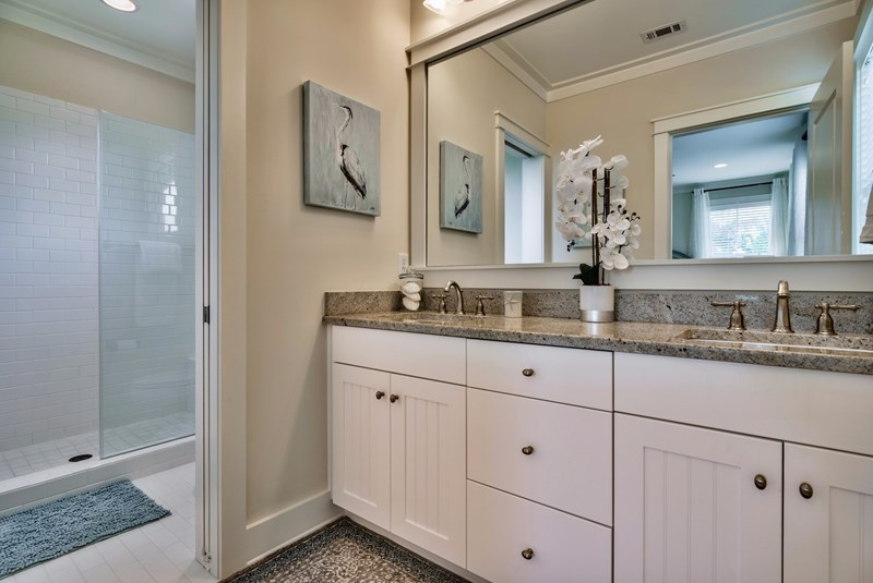 Private Master Bath Retreat with Dual Sinks, Privacy 2nd Door and Walk-in Shower