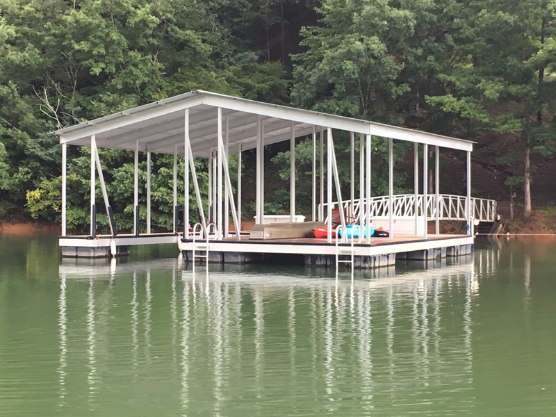 Dock with 10' x 24' boat slip and 18' x 28' sitting area