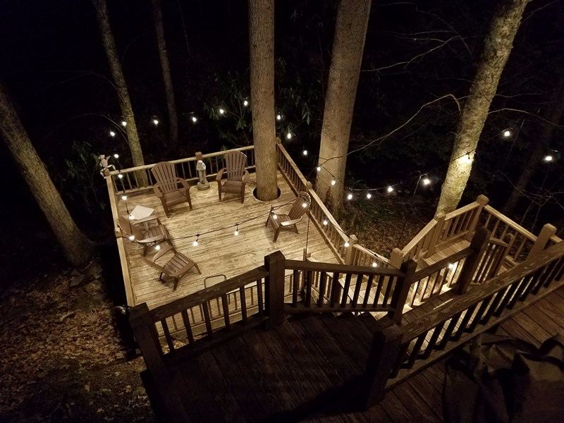 Night view of deck over the creek !!!