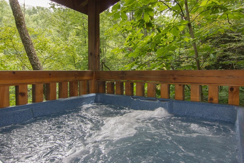Hot Tub on deck on main level of cabin
