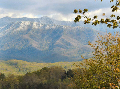 View of Mt LeConte from Deck