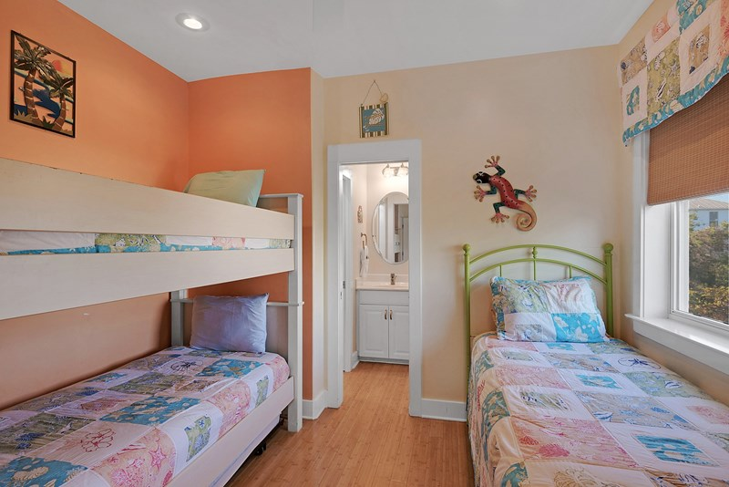 Fourth bedroom has a twin bed plus a twin/twin bunk and trundle bed