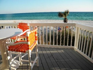 sit on private deck 10 steps down to beach