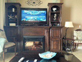 Cold day?  Catch the game on the 3D HD TV and stay warm by the electric fireplace :-)