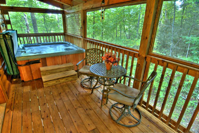 Screened Deck with Hot Tub, Swing and Bistro Table