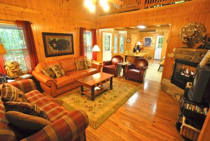 Entrance view of livingroom of the cabin