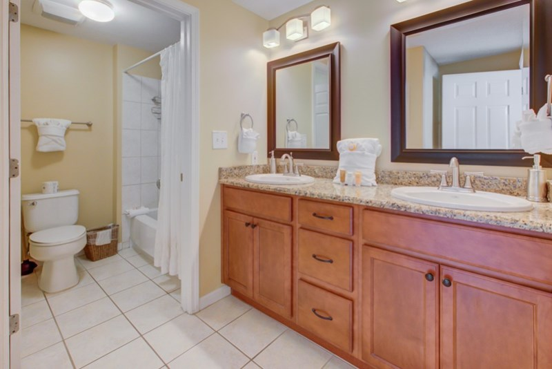 Clean spacious master bathroom