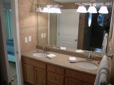 master bath double vanity right off bedroom Private walk in glass tile shower