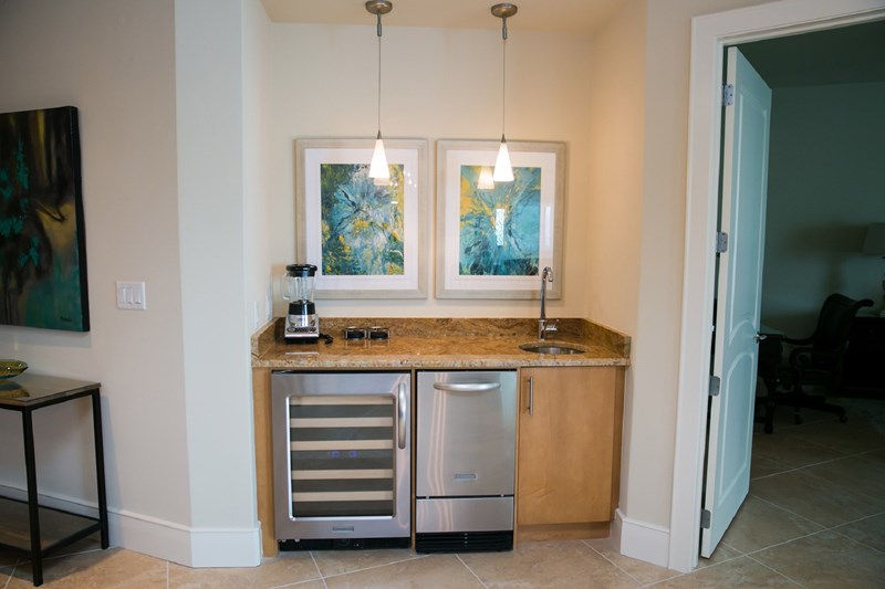 Wet Bar with wine fridge and icemaker