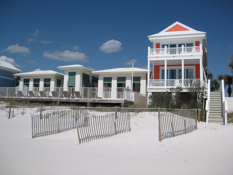 Cottage gulf side view. Pool house on left. Cottage has own private dune walkover to the beach.