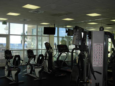 Fitness center overlooking the Gulf