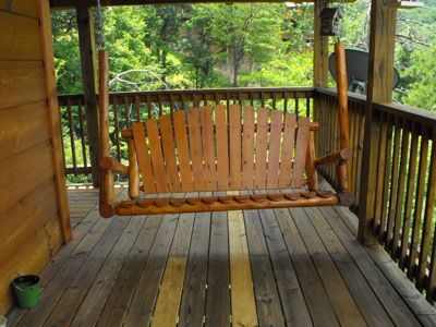 Upstairs Porch Swing for sitting and thinking!