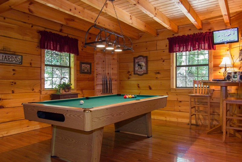 Pool Table is on lower level of the cabin.