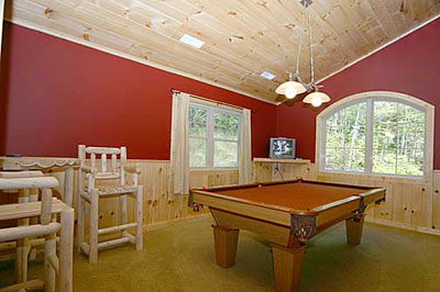 Pool table and TV room with views