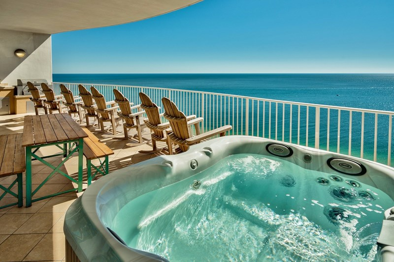 private hot tub on Gulf Front balcony