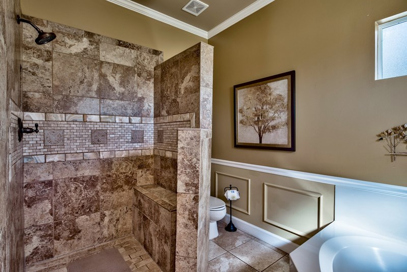 Master Bath, twin vanity, granite counter, garden tub with walk-in shower