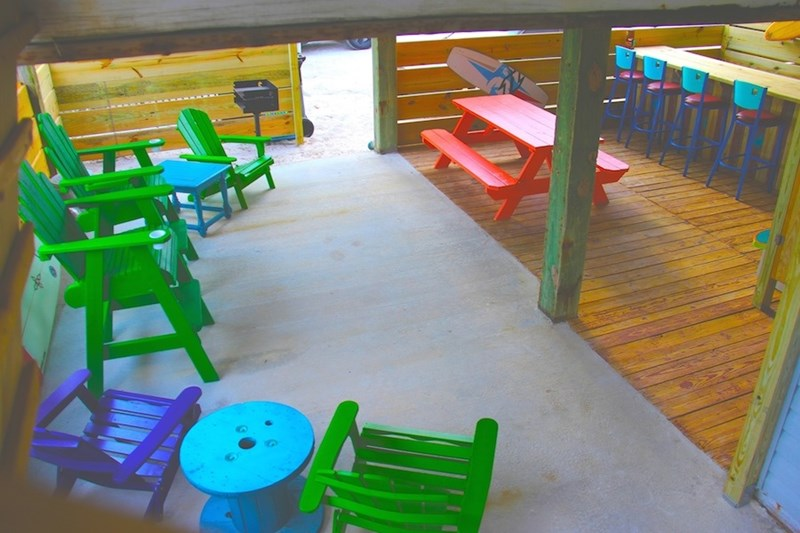 The best place to hang out in the summer is under the house.  Its shady, cooler and we have an awesome new tiki bar!