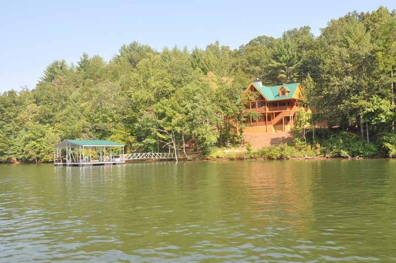View of Cane Creek Lodge and the private dock from Lake Nottely
