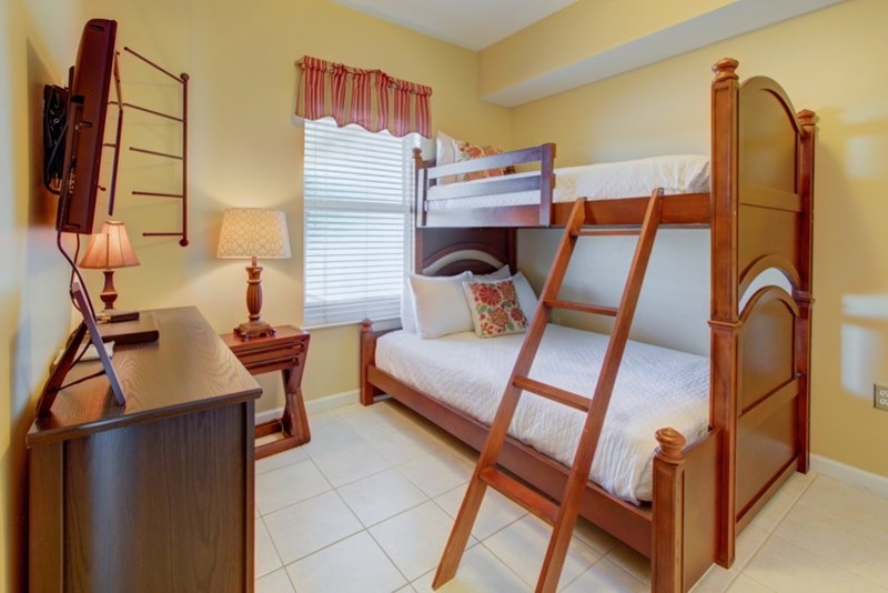 Twin over full bunk beds in guest bedroom